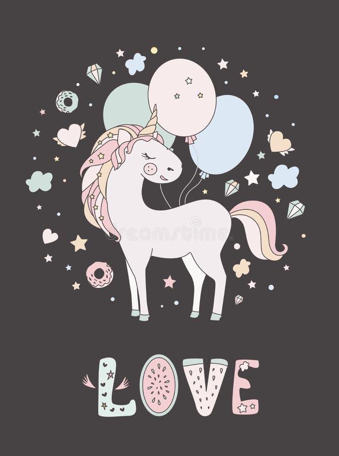 Söt gullig illustration för enhörningvektor Magisk fantasidesign Isolerad häst för tecknad filmregnbåge djur Sagaenhörning royaltyfri illustrationer