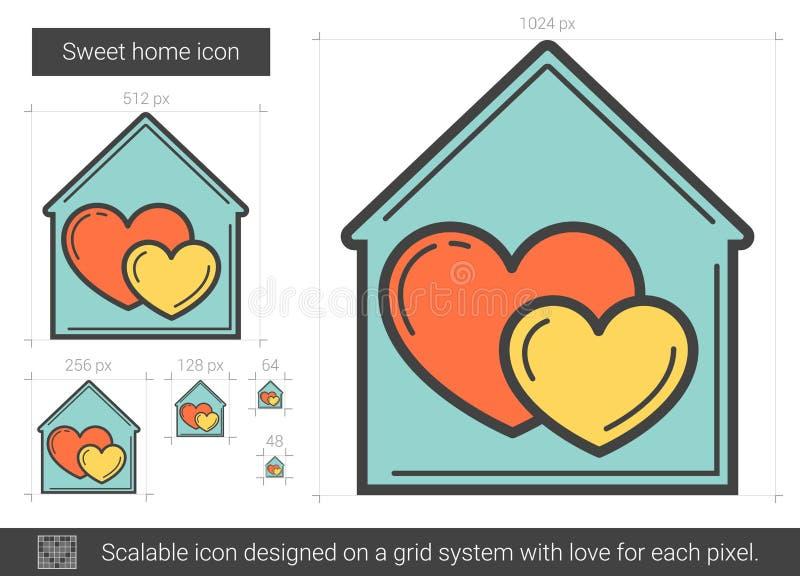 Söt hem- linje symbol vektor illustrationer