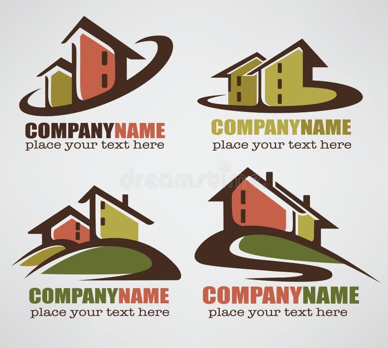 Söt hem- logo stock illustrationer
