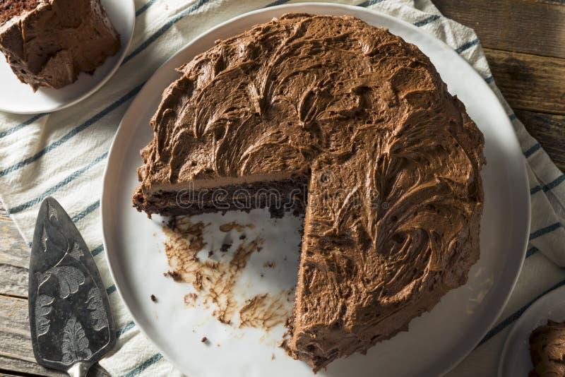 Söt hemlagad mörk chokladlagerkaka arkivfoto