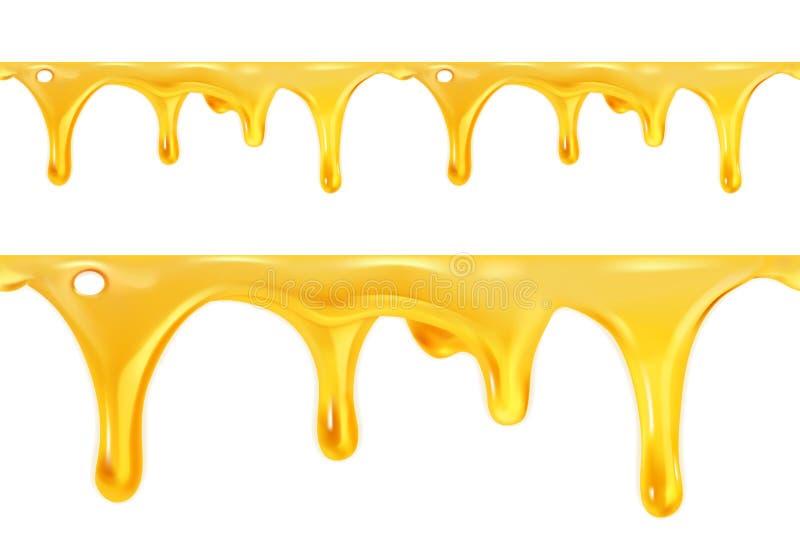 Söt honung dryper den sömlösa vektorn stock illustrationer