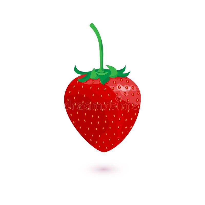Söt jordgubbe för vektor som isoleras på vit bakgrund royaltyfri illustrationer