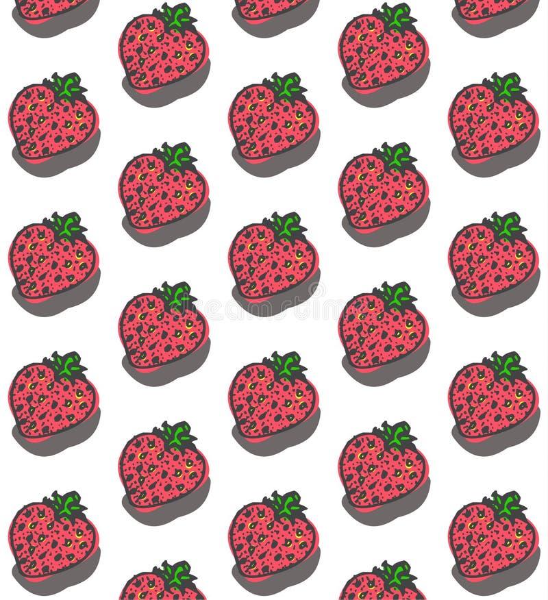 Söt jordgubbemodell stock illustrationer
