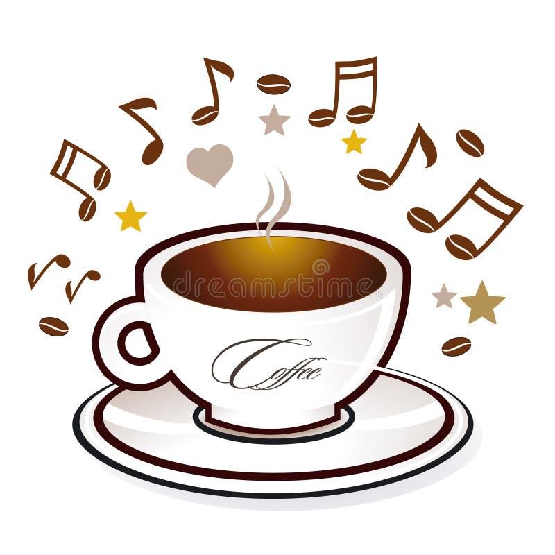 söt kaffemusik royaltyfri illustrationer