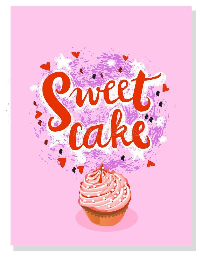 Söt kaka för Grungetecken med illustrationen av kakan vektor royaltyfri illustrationer