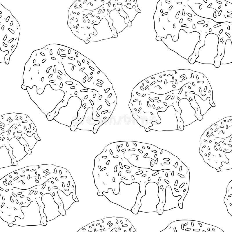 Söt läcker munkfärgläggning för sömlös modell Vektorillustra stock illustrationer