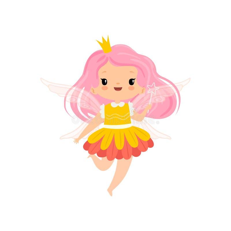 Söt liten bevingad fe med rosa långt hår, härligt flickatecken i felik dräkt med trollspövektorn vektor illustrationer