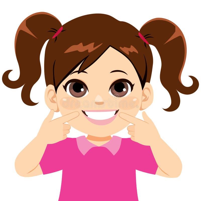 Söt liten flicka som ler tänder vektor illustrationer