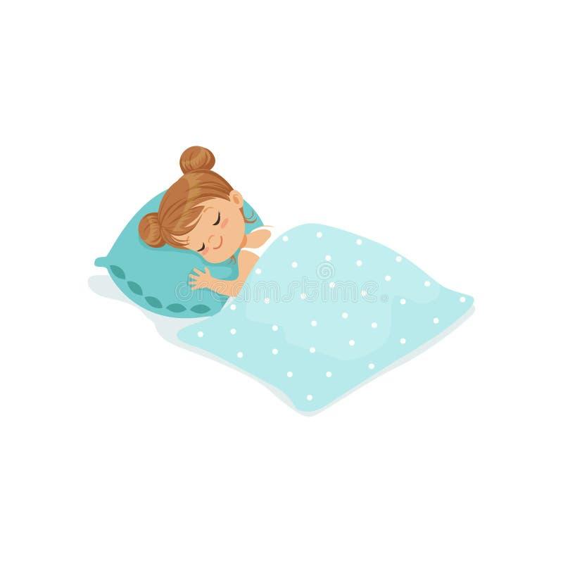 Söt liten flicka som sover på hennes illustration för vektor för sängtecknad filmtecken vektor illustrationer