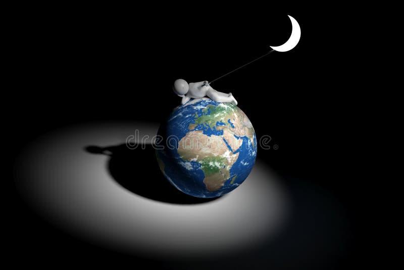 Söt mänsklig håll 3d månen - Europa, Afrika, Mellanösten version royaltyfri illustrationer