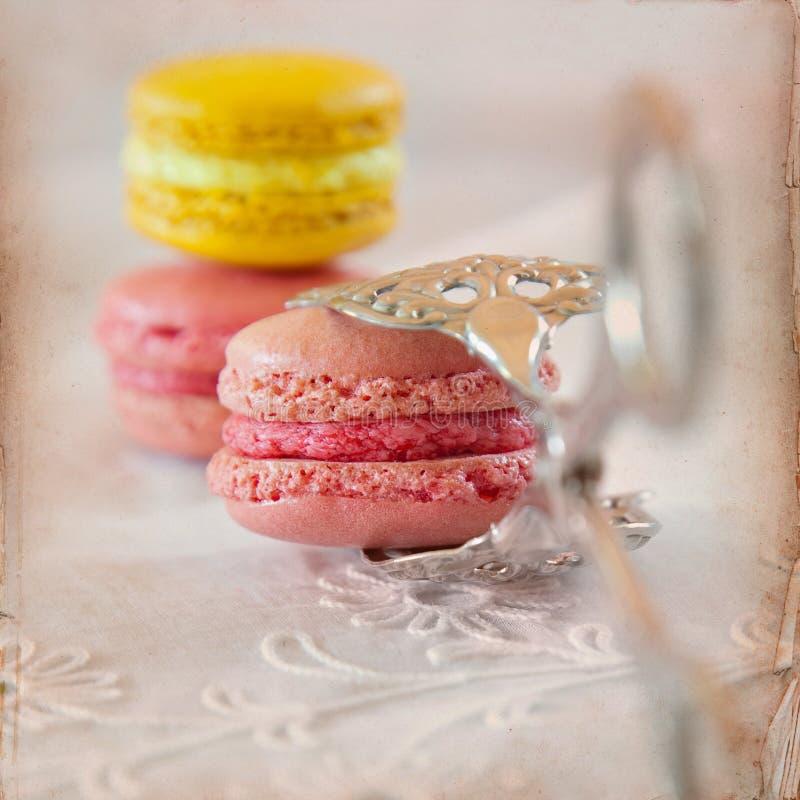 Söt Macarons bakgrund royaltyfri fotografi