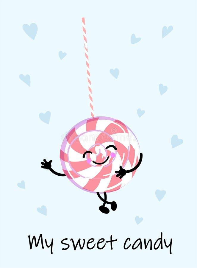 Söt mat för tecknad filmkawaii - rosa le godis på vit bakgrund, kortmall med efterrätten och text - min söta godis som är gullig vektor illustrationer