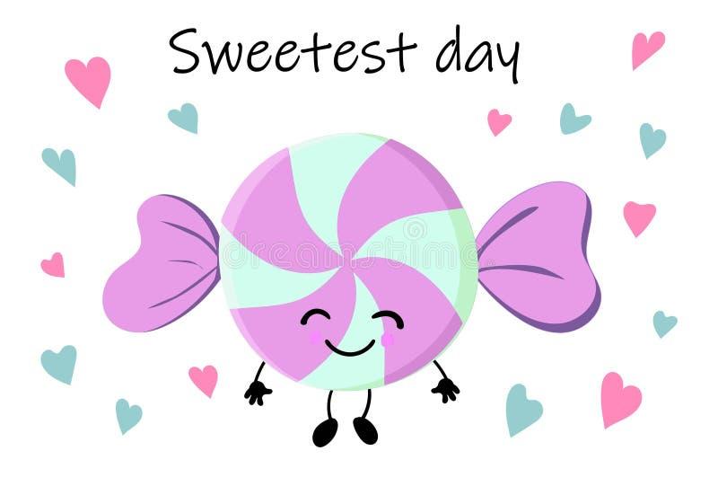 Söt mat för tecknad filmkawaii - rosa le godis på vit bakgrund, kortmall med efterrätten och text - min söta godis som är gullig royaltyfri illustrationer