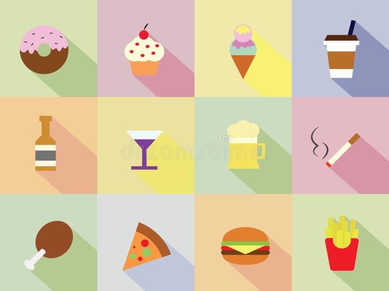 Söt, mat- och drinksymbol vektor illustrationer