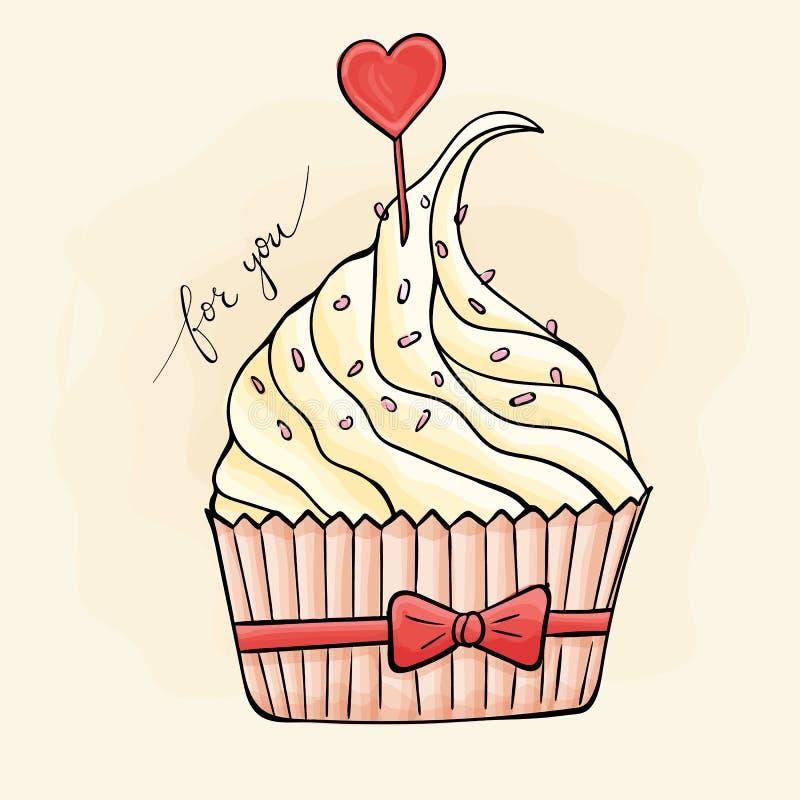 Söt muffin med en hjärta valentin för dag s stock illustrationer