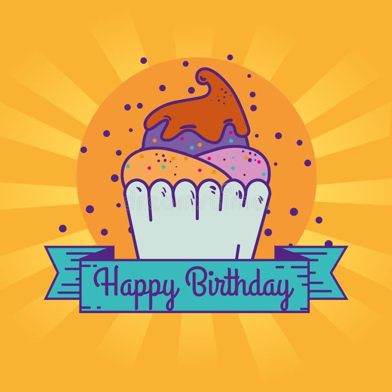 Söt muffin och band med meddelandet för lycklig födelsedag vektor illustrationer