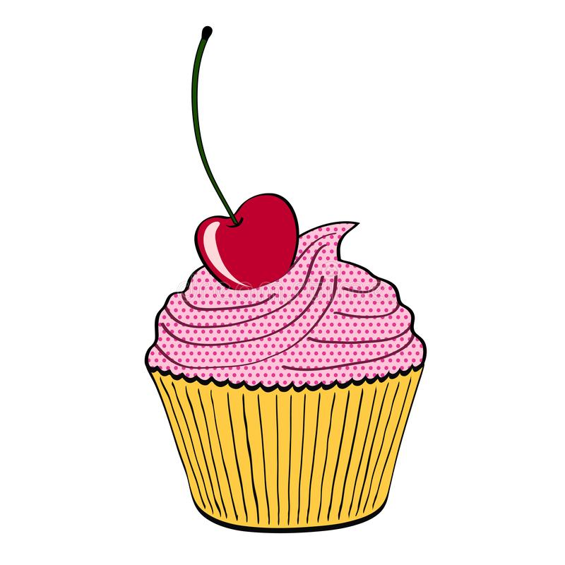 Söt muffinefterrätt med körsbäret på vit i tecknad filmstil, sto royaltyfri illustrationer