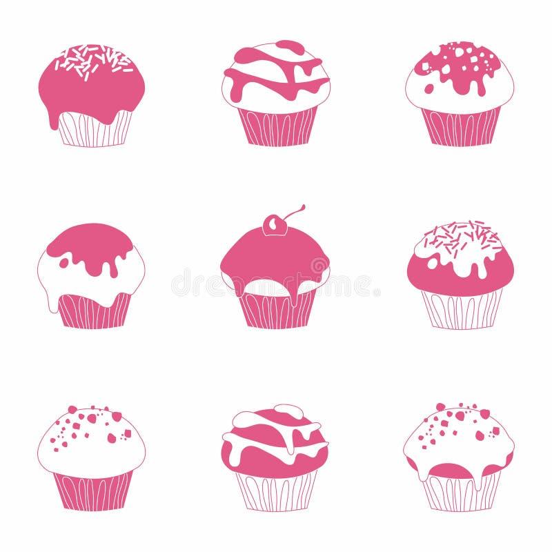 Söt muffinvektoruppsättning vektor illustrationer