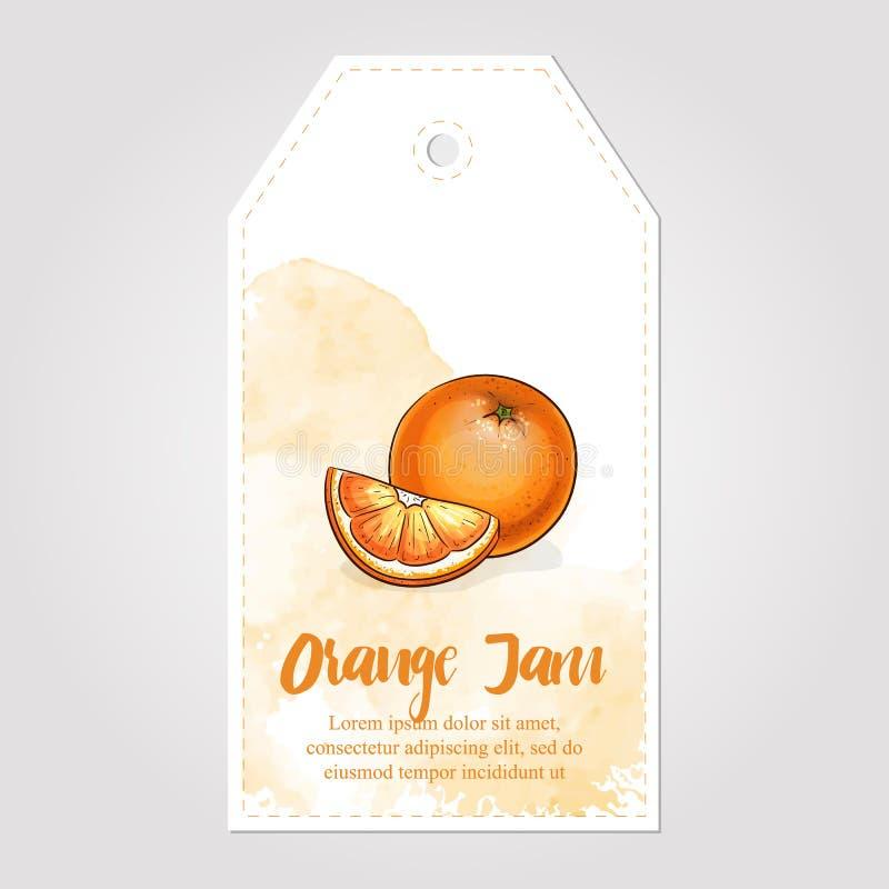 Söt och sund hemlagad för marmeladpapper för orange driftstopp illustration för vektor för etikett stock illustrationer