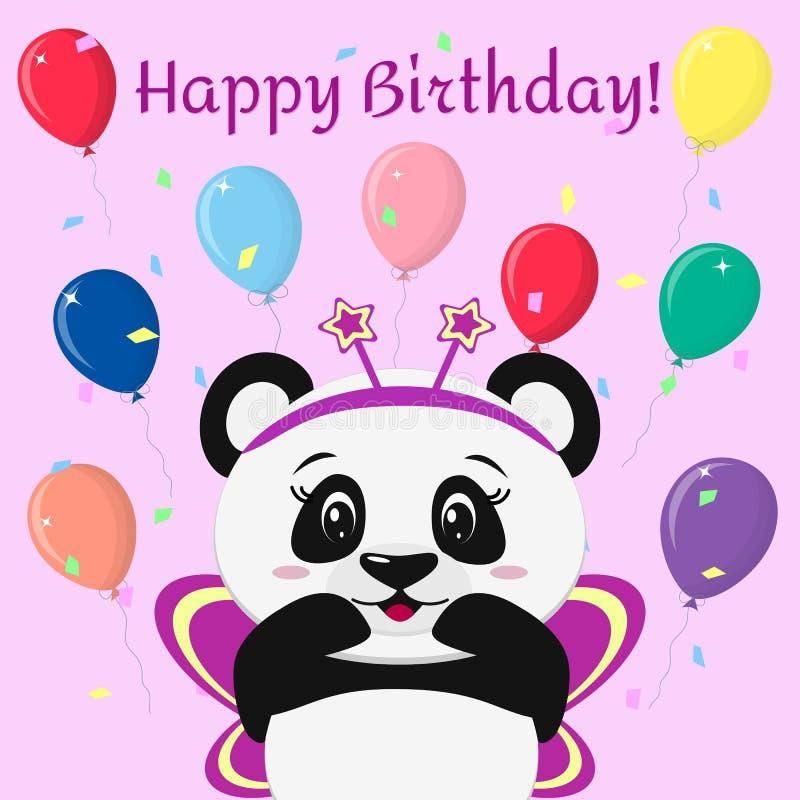 Söt panda i en rosa fjärilsdräkt, ställningar med lyftta händer mot bakgrunden av ballonger i tecknade filmen stock illustrationer