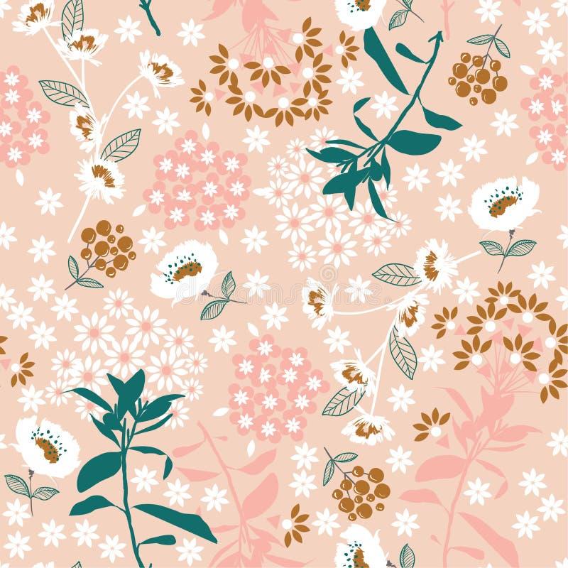 Söt pastellfärgad geometrisk tät blommande blomma och blad i det dar vektor illustrationer