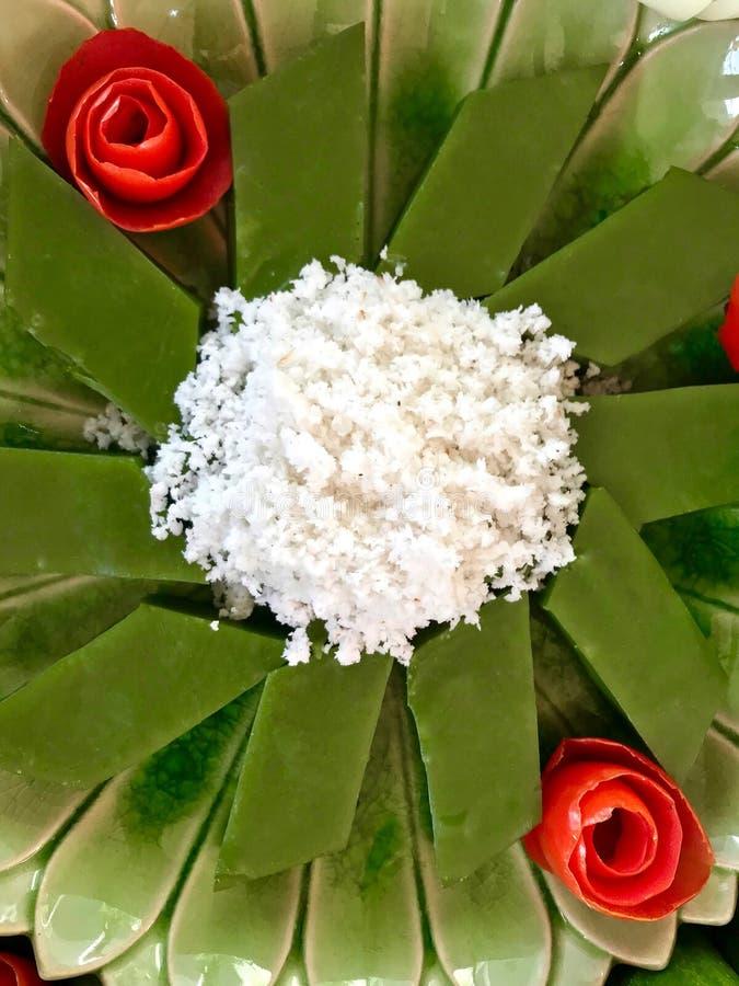 Söt pudding för läcker thailändsk grön kokosnöt royaltyfri foto