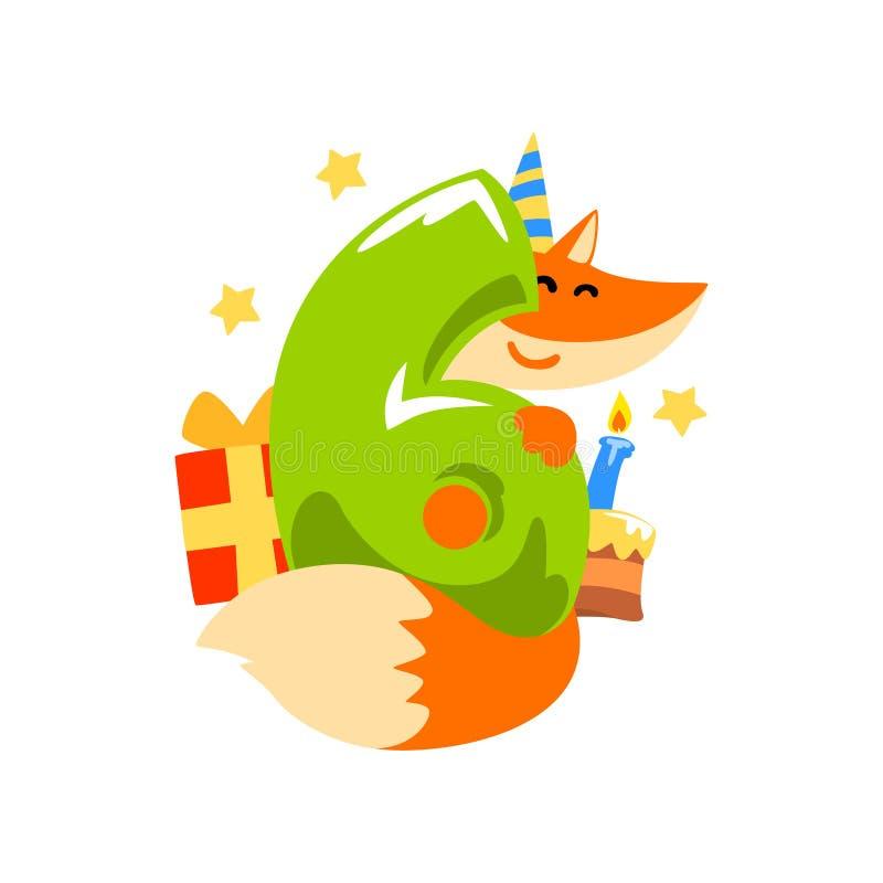 Söt röd räv i partihatt och nummer sex, lycklig födelsedag, årsdagnummer med den gulliga djura teckenvektorn stock illustrationer