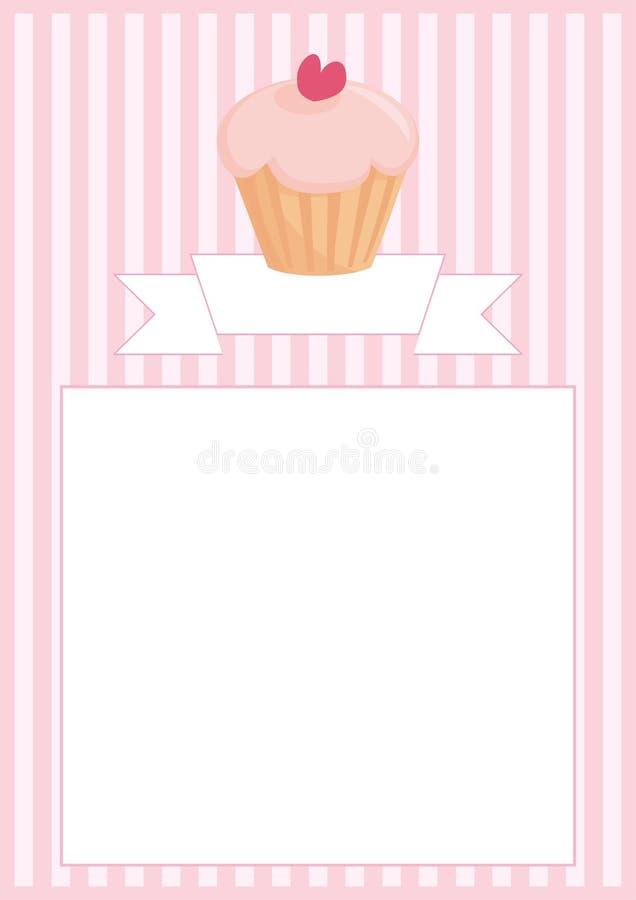 Söt retro muffin på rosa tappningremsabakgrund med band och vitutrymme för ditt egna textmeddelande stock illustrationer