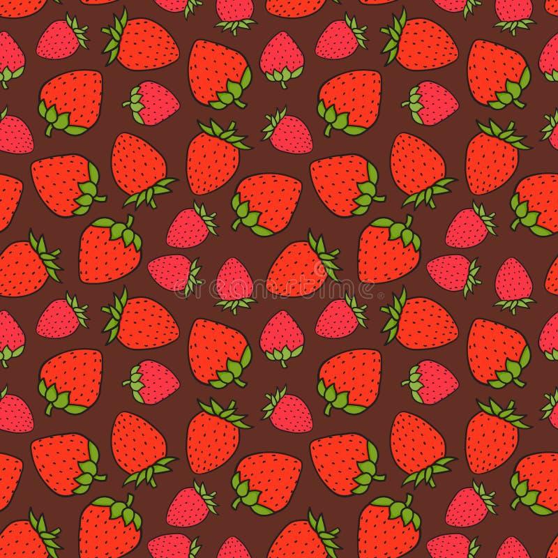 Söt sömlös modell för jordgubbe Designen ytbehandlar textur Utdragen vektorillustration för hand på chokladbakgrund stock illustrationer