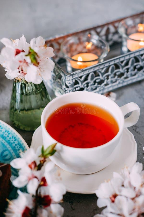Söt söndag efterrätt Chokladnissen med svart te fotografering för bildbyråer