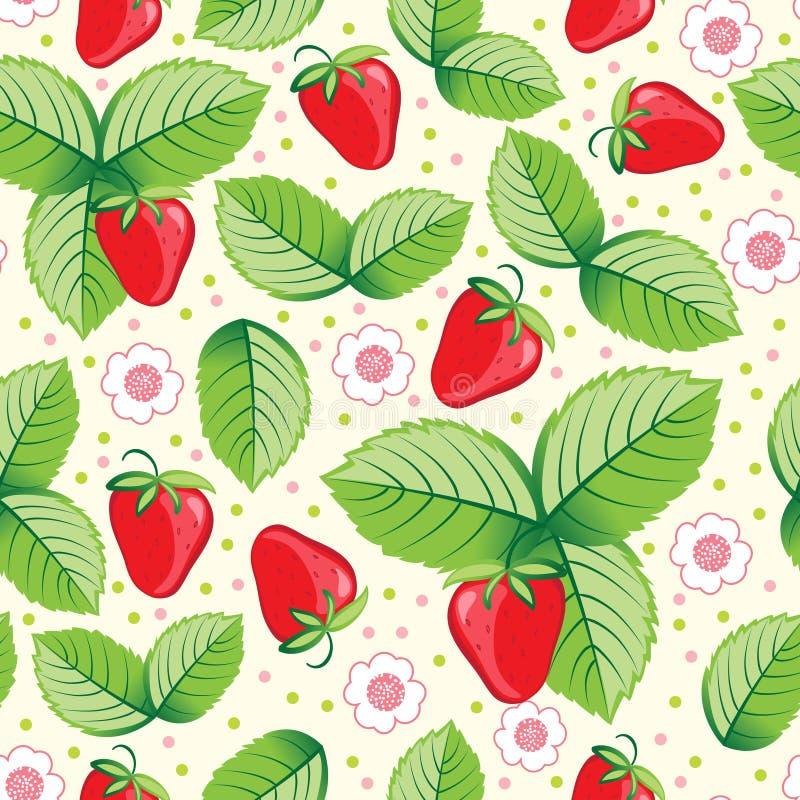 söt seamless jordgubbe för bakgrund vektor illustrationer