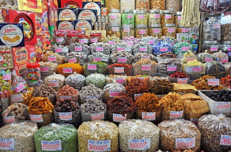 Söt Stall på Ben Tanh Market, Ho Chi Minh City. arkivbild