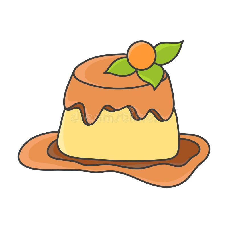 Söt vaniljpudding med karamellglasyr arkivbild