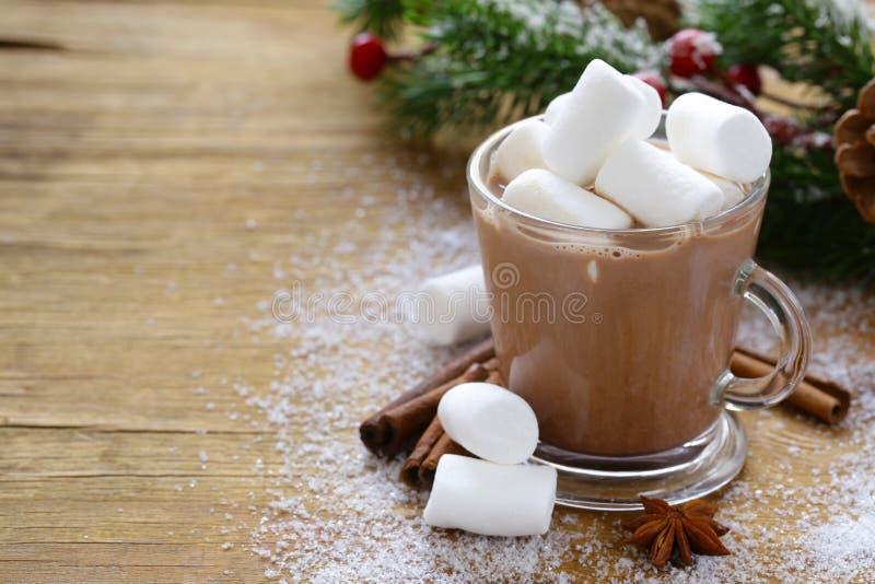 Söt varm kakao med marshmallower, jul dricker fotografering för bildbyråer