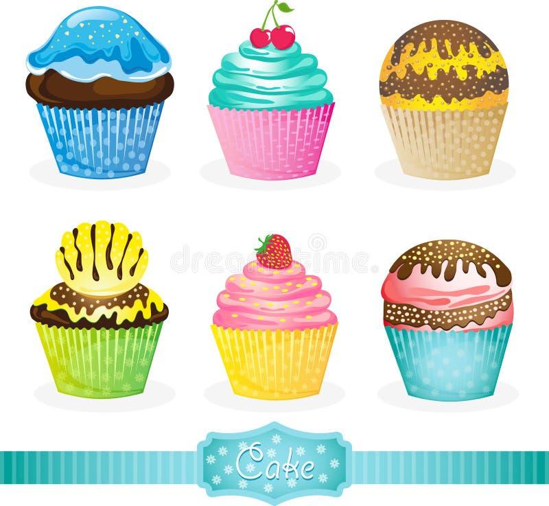 söta cakesymboler stock illustrationer