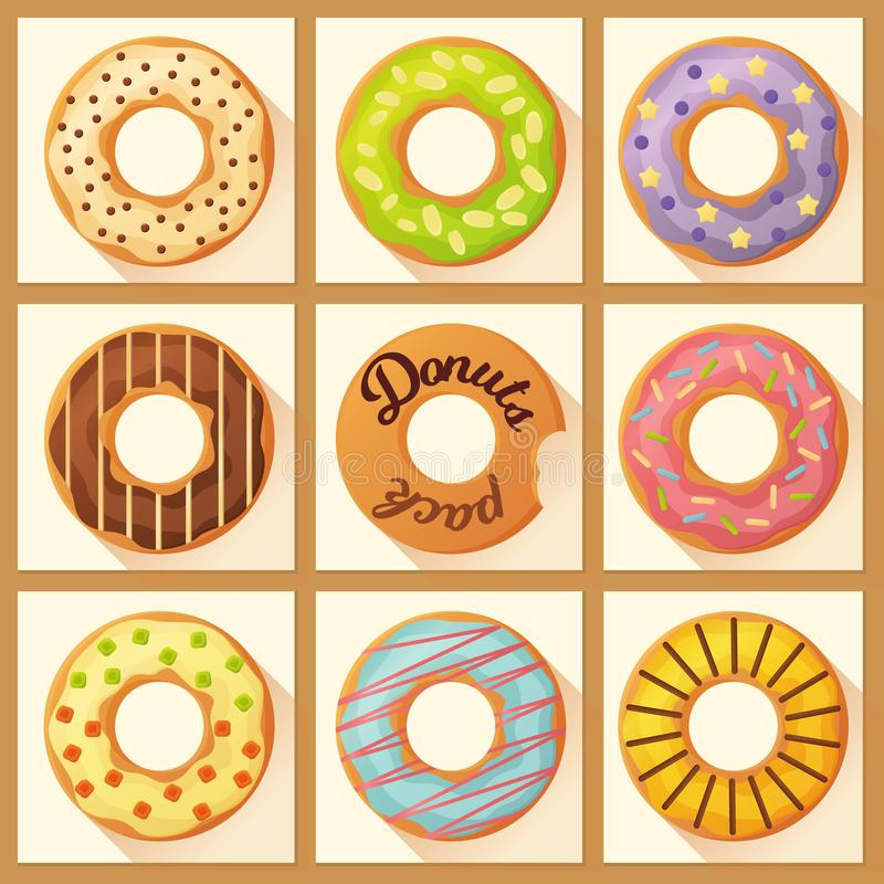Söta färgrika bakade glasade donuts eller munkar ställde in med stänk vektor illustrationer