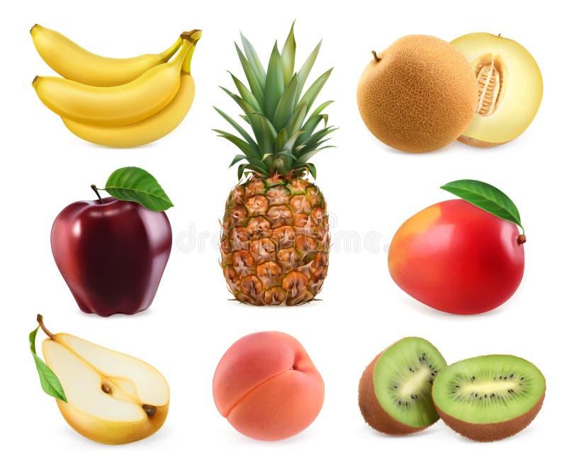 söta frukter symbolsuppsättning för vektor 3d Realistiska illustrationer vektor illustrationer