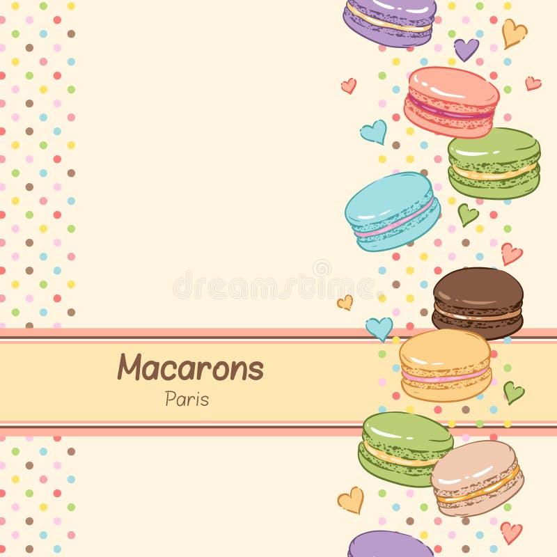 Söta macaroons royaltyfri illustrationer