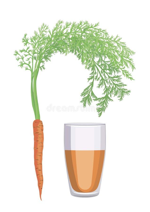 Söta morötter och ett exponeringsglas av nytt sammanpressad morotfruktsaft stock illustrationer