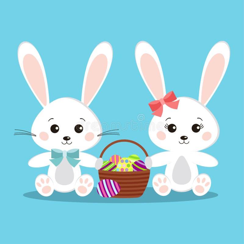 Söta och gulliga par av vita kaninkaniner pojke och flicka, i att sitta posera med korgen royaltyfri illustrationer