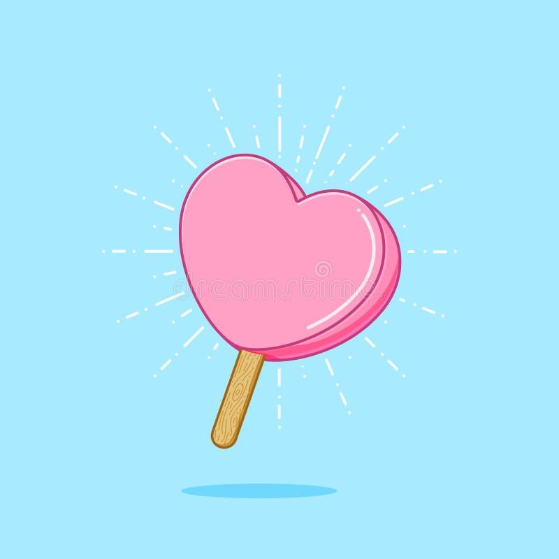 Söta Valentine Popsicle stock illustrationer