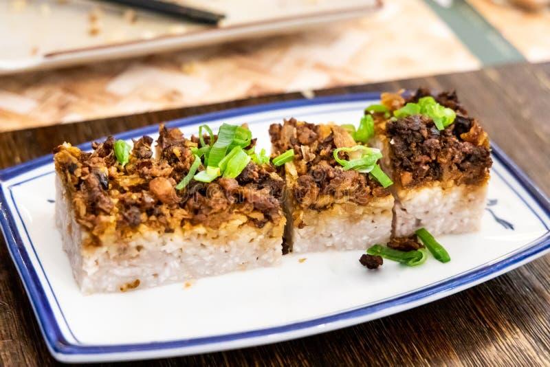 Sötpotatiskaka med ris, populär mat i Hong Kong Taiwan royaltyfria foton