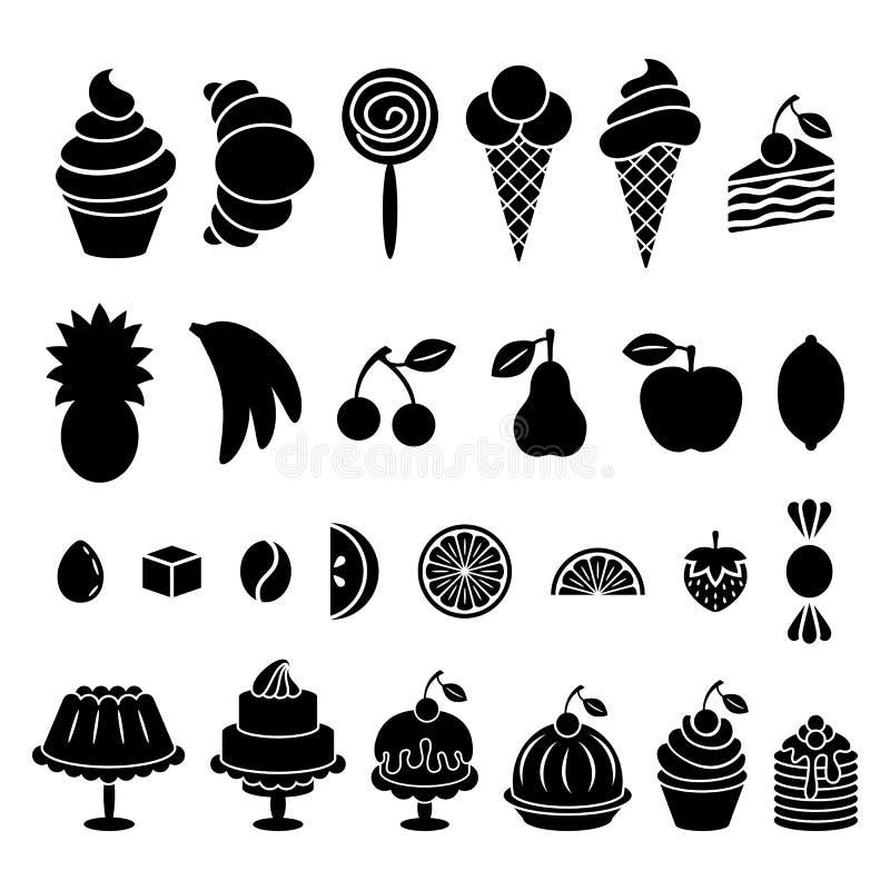 Sötsak bakad mat- och fruktkonturuppsättning royaltyfri illustrationer