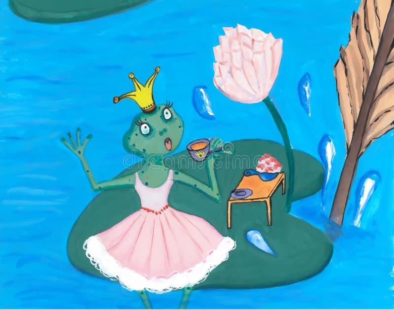 Sötsaken gjorde häpen prinsessan Frog i rosa färgklänning som dricker te på Lotus Leaf royaltyfri illustrationer