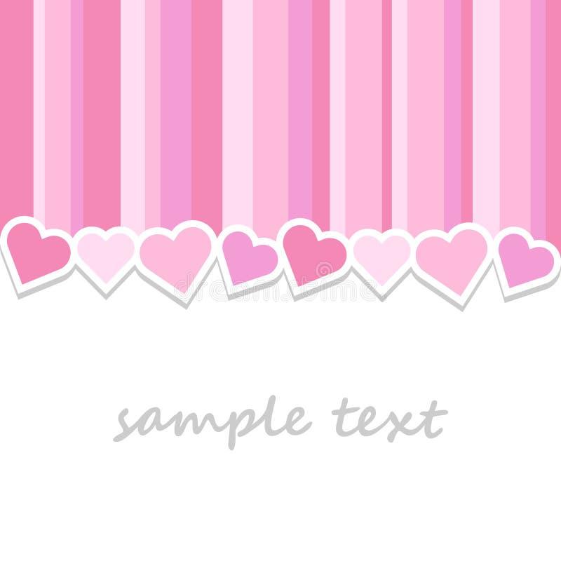 Sötsaken gjorde randig rosa bakgrund för kortet för valentindaghälsningen royaltyfri illustrationer