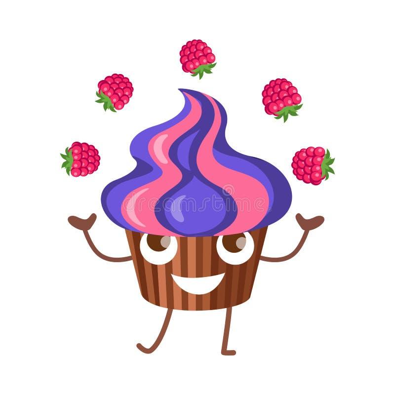 sötsaker Fruktmuffin jonglerar med fyra hallon royaltyfri illustrationer