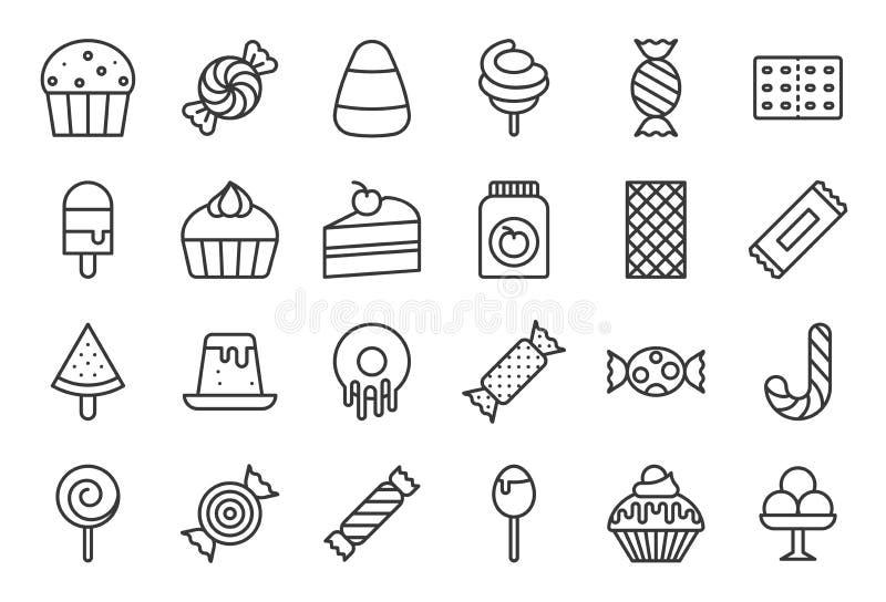 Sötsaker och godissymbolen ställde in 2/2, linjen symbolsuppsättning royaltyfri illustrationer