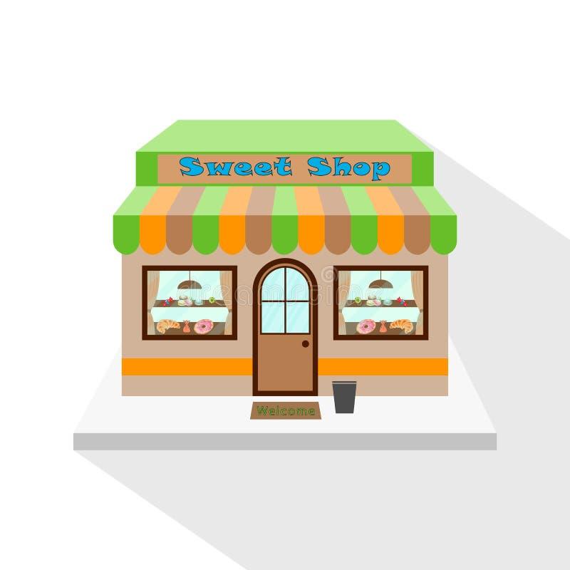 Sötsaker shoppar symbolen med lång plan skugga vektor illustrationer