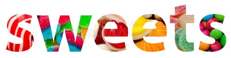 Sötsaker uttrycker gjort av den färgrika läckra godisen arkivfoto