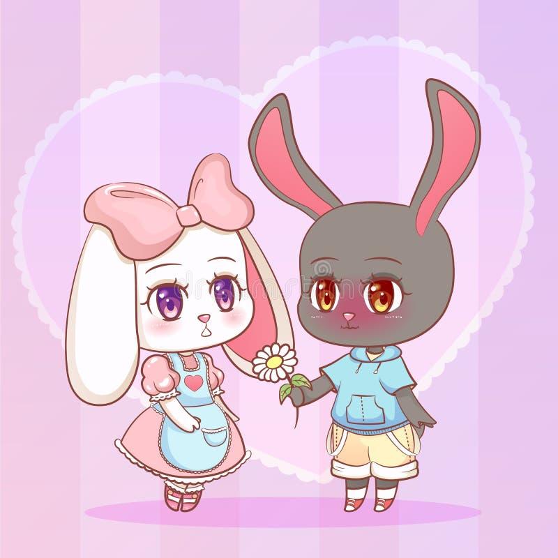 Sött lite gullig pojke och flicka för kanin för kanin för valp för kawaiianimetecknad film med blommakamomillform av en hjärta Ko royaltyfri illustrationer